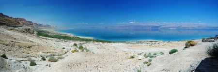 Panorama of Dead Sea and Arava desert, Israel photo