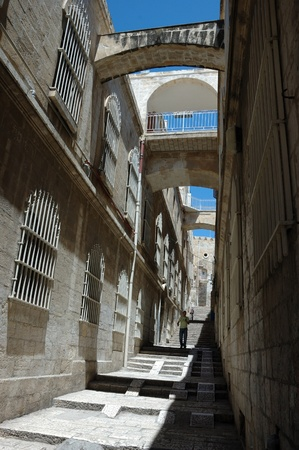Narrow streets of old Jerusalem.Old Jerusalem is one of most sacred towns in the world, Israel  photo