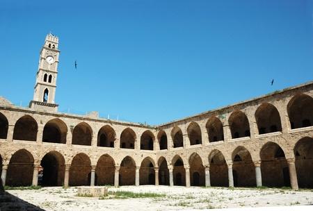 Ottoman landmark building - Khan El-Umdan in Akko, Israel .Akko -maritime capital of crusaders kindom photo