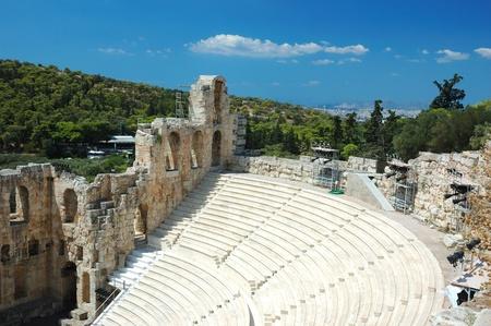 Ruins of ancient amphitheater at Acropolis hill, Athens,Greece,Balkans Stock Photo - 11334150