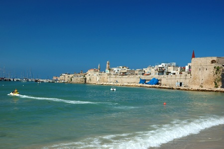 ancient israel: Old Akko beach - famous ancient city of Israel