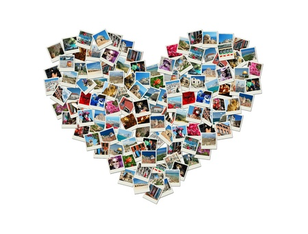 Travel passion - heart shaped collage made of world photos photo