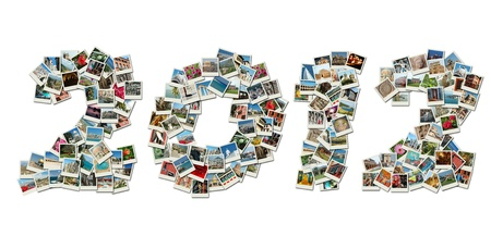 2012 PF card collage made of travel photos with famous landmarks of Israel,Greece,India,Italy,Bulgaria,etc photo