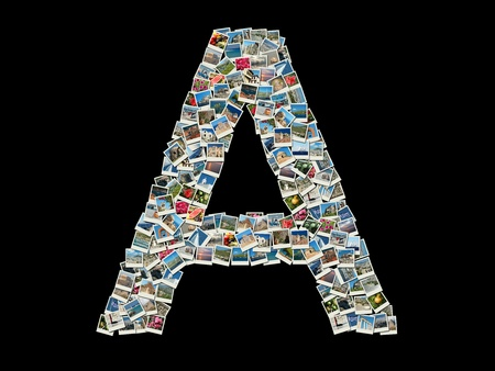 Shape of letter 'A' made of travel photos photo