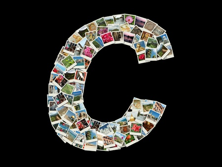 Shape of  C letter made like collage of travel photos photo