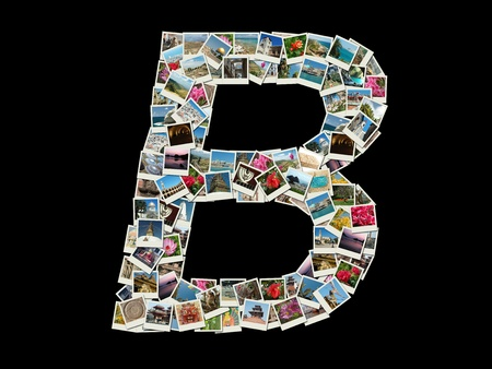 Shape of  'B' letter made like collage of travel photos photo