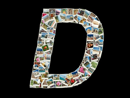 Shape of  D letter made like collage of travel photos photo