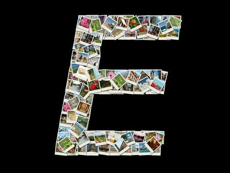 Shape of  'E' letter made like collage of travel photos photo