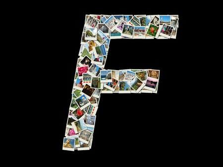 Shape of  'F' letter made like collage of travel photos photo