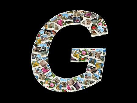 Shape of  G letter made like collage of travel photos photo