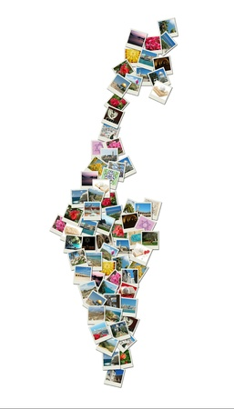 Map of Israel,collage made of travel photos with famous landmarks - western wall,omar mosque,bahai temple