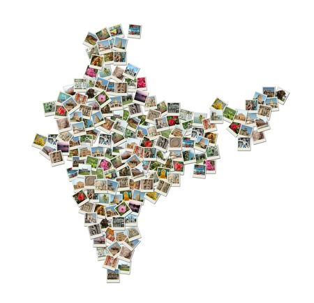Map of India - collage made of travel photos Stock Photo
