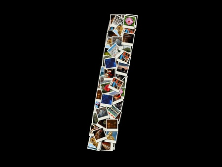Shape of  I letter made like collage of travel photos photo