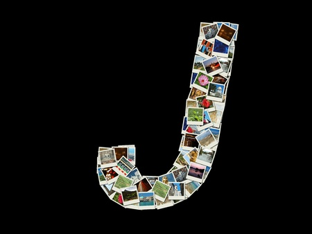 Shape of  J letter made like collage of travel photos photo