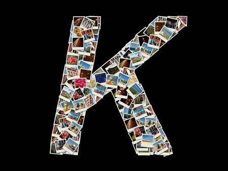 Shape of  K letter made like collage of travel photos photo