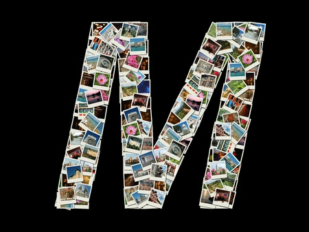Shape of  'M' letter made like collage of travel photos photo