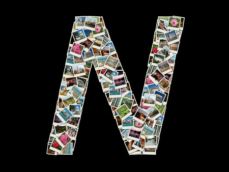 Shape of  N letter made like collage of travel photos photo