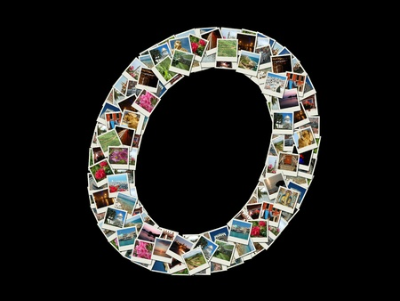 Shape of  O llitera made like collage of travel photos photo