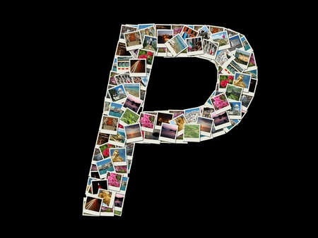 Shape of  P llitera made like collage of travel photos photo