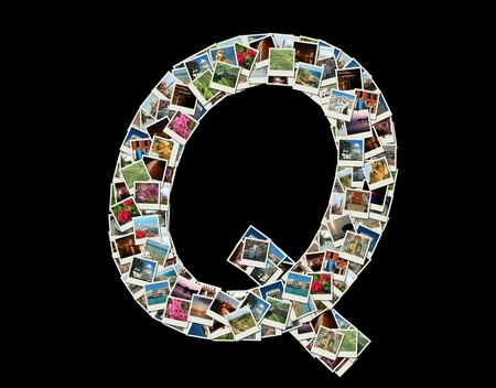 Shape of  'Q' llitera made like collage of travel photos photo