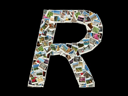 Shape of  R llitera made like collage of travel photos photo