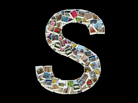 Shape of  S letter made like collage of travel photos photo