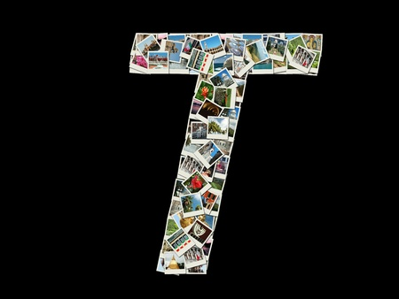 Shape of  'T' letter made like collage of travel photos photo