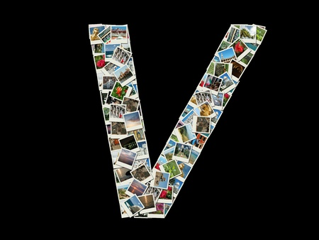 Shape of  'V' letter made like collage of travel photos photo