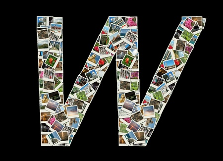 Shape of  'W' letter made like collage of travel photos photo