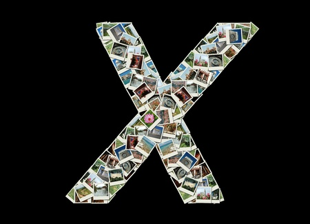 Shape of  'X' letter made like collage of travel photos photo