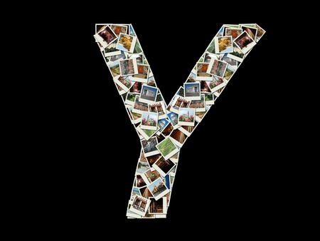 Shape of  Y letter made like collage of travel photos photo