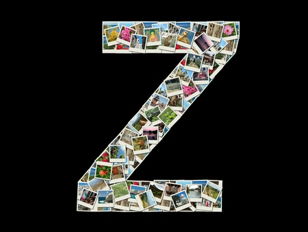 Shape of  Z letter made like collage of travel photos photo