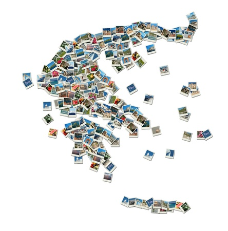 Map of Greece - collage made of travel photos with famous greek landmarks photo