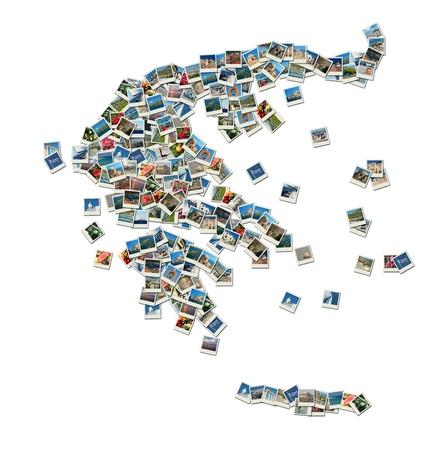 mapas conceptuales: Mapa de Grecia - Composici�n de fotos de viajes con famosos monumentos griegos