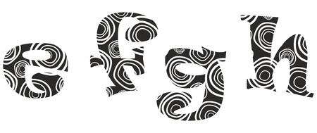 alphabetical letters: lliteras -e,f,g,h Illustration