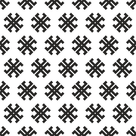 outmoded: Seamless abstract black-and-white vector tribal cross texture