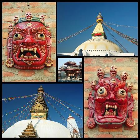Collage of Kathmandu landmarks , Nepal Stock Photo - 12933819