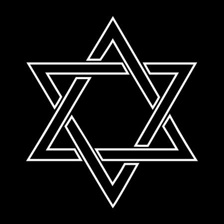 etoile juive: Design blanc �toile juive sur fond noir - illustration