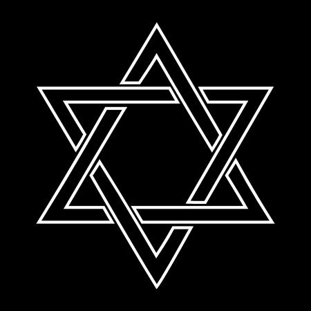 judaica: White jewish star design on black background -  illustration Stock Photo