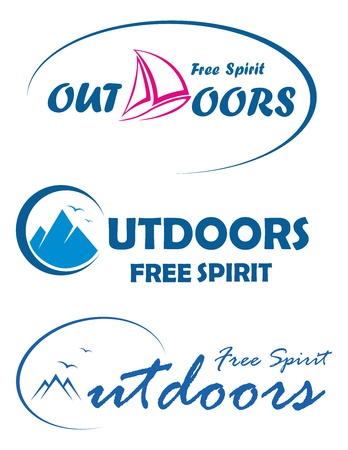 Three travel logos -free spirit outdoors Stock Vector - 13335451