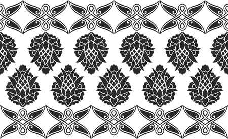 Seamless damask or victorian floral black-and-white vector texture (border)  Vector