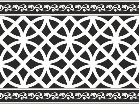 Naadloze zwart-wit gothic bloemen vector textuur (grens) Vector Illustratie