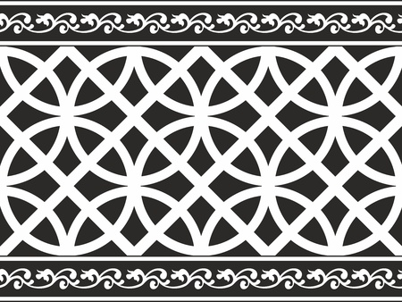 Seamless black-and-white gothic floral vector texture (border) Vector