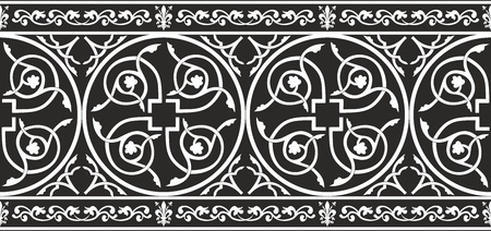 Seamless black-and-white gothic floral vector border with fleur-de-lis Ilustracja