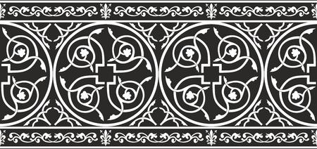 edad media: Transparente y negro de la frontera blanca gótico vector floral con la flor de lis