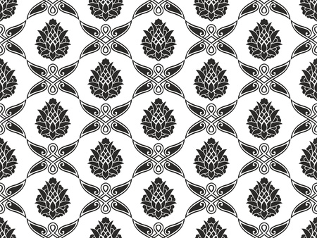 Seamless damask floral black-and-white vector texture  Vector