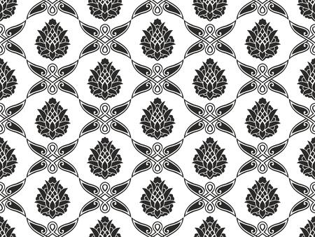 seamless damask: Sin fisuras damasco floral negro y blanco, vector, textura