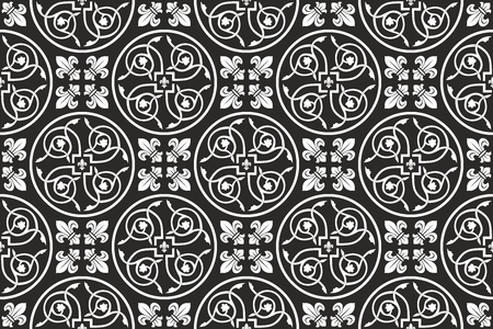 Black-and-white seamless gothic floral  pattern with fleur-de-lis Ilustracja