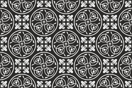 lirio blanco: Negro y blanco sin fisuras patr�n g�tico floral con la flor de lis