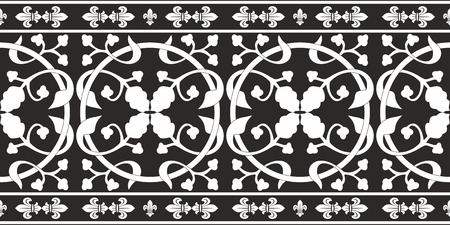Seamless black-and-white gothic floral vector pattern with fleur-de-lis Vector